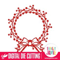 Christmas Holly Wreath Bow Frame - SVG Cut Files