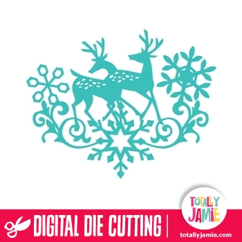 Christmas Reindeer Snowflake Flourish 1