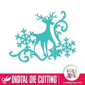 Christmas Reindeer Snowflake Flourish 3