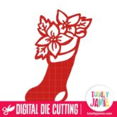 Christmas Stocking Poinsettia - SVG Cut Files