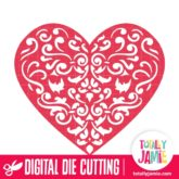 Damask Heart Cutout - SVG Cut Files