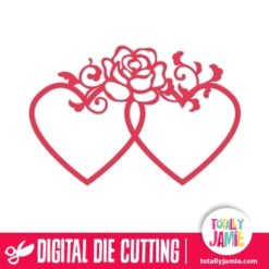 Double Heart Frame Rose Flourish Decoration
