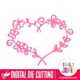 Floral Nature Heart Frame - SVG Cut Files