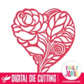 Floral Rose Heart - SVG Cut Files