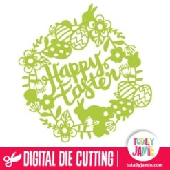 Floral Wreath Easter Bunnies Eggs