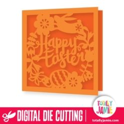 Flowers Leaves Wreath Happy Easter Card