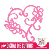 Flowers Swirl Love Heart - SVG Cut Files