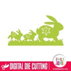 Folk Easter Bunnies In A Row