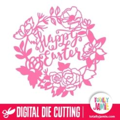 Garden Flowers Wreath Frame Happy Easter
