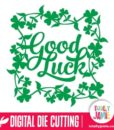 Good Luck Brush Script Clover Shamrock Frame
