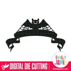 Halloween Bat Ribbon Banner - SVG Cut Files