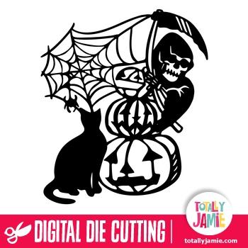 Halloween Reaper Pumpkin Cat Decoration
