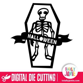 Halloween Skeleton Coffin Banner