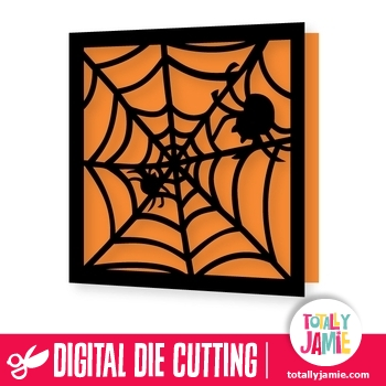Halloween Spider And Web Card