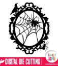 Halloween Spider Web Oval Frame - SVG Cut Files