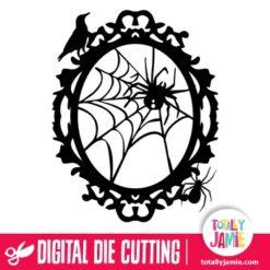 Halloween Spider Web Oval Frame