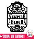Halloween Vampire Blood Vintage Label Frame