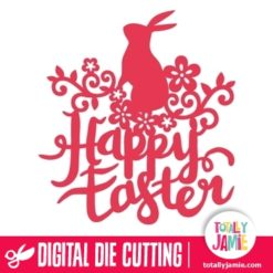 Happy Easter Flourish Swirl Rabbit