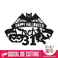 Happy Halloween Ribbon Scroll Decor - SVG Cut Files