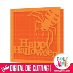 Happy Halloween Title Spider Card - SVG Cut Files