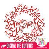 Merry Christmas Lettering Holiday Wreath - SVG Cut Files