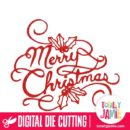 Merry Christmas Lettering Holly - SVG Cut Files