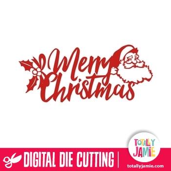 Merry Christmas Script Brush Title Santa