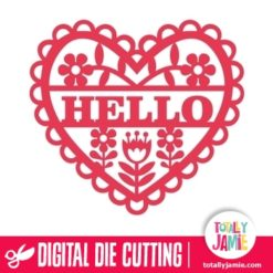 This gorgeous cute retro flowers fretwork heart with hello phrase die cutting svg file is great for any cardmaking projects.