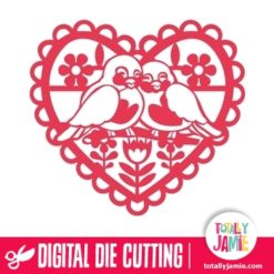 Retro Heart Love Birds - SVG Cut Files