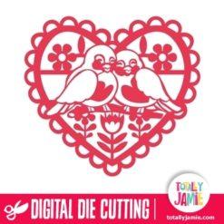Retro Heart Love Birds