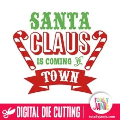 Santa Claus is coming to town word art
