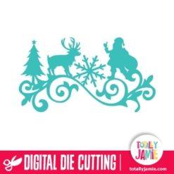 Santa Reindeer Tree Snowflake Flourish