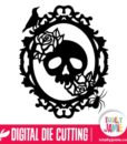 Skull Roses Halloween Oval Frame - SVG Cut Files