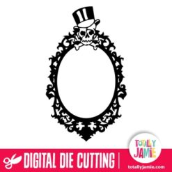 Skull Top Hat Gothic Oval Frame