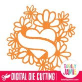 Tattoo Heart Ribbon Flowers - SVG Cut Files