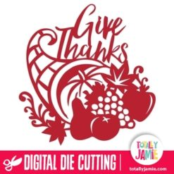 Thanksgiving Cornucopia Give Thanks Phrase - SVG Cut Files