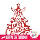 Vintage Merry Christmas Angel Decoration - SVG Cut Files