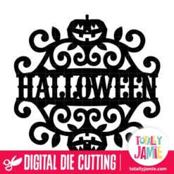 Vintage Ornate Swirl Halloween Label - SVG Cut Files