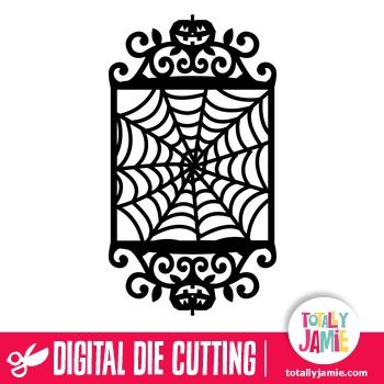 Vintage Ornate Swirl Halloween Spider Web Frame