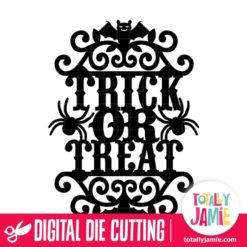 Vintage Ornate Swirl Halloween Trick Or Treat Label - SVG Cut Files