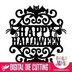 Vintage Ornate Swirl Happy Halloween Label - SVG Cut Files