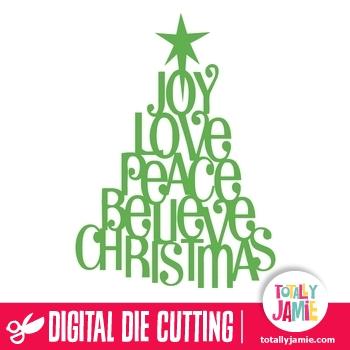 Whimsical Christmas Phrases Tree