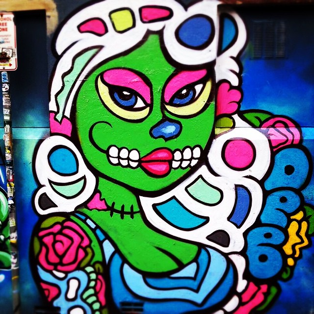 Amazing graffiti street art called Deb spotted recently at my suburb. Love the mexican day of the dead theme and the colors!